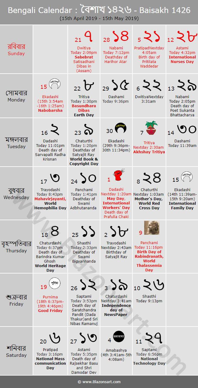 Bengali Calendar - Baisakh 1426 : বাংলা কালেন্ডার