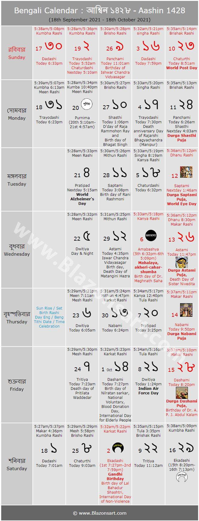 Bangla Calendar October 2019