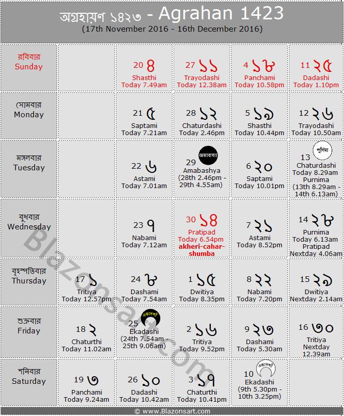 Calendar Bangla : Bengali calendar agrahan panjika nov