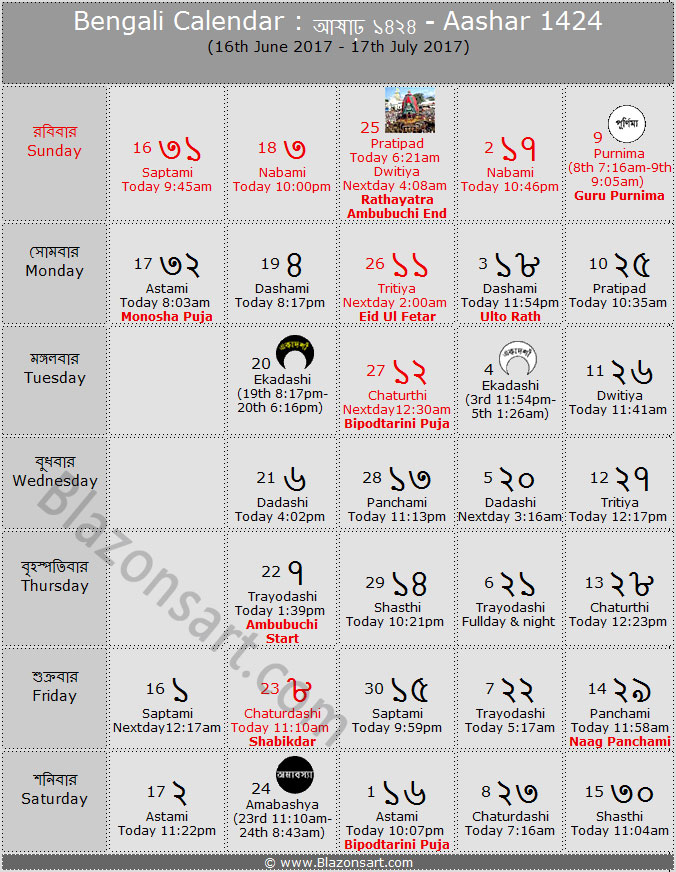 Calendar Bangla : Bengali calendar aashar বাংলা কালেন্ডার আষাঢ়