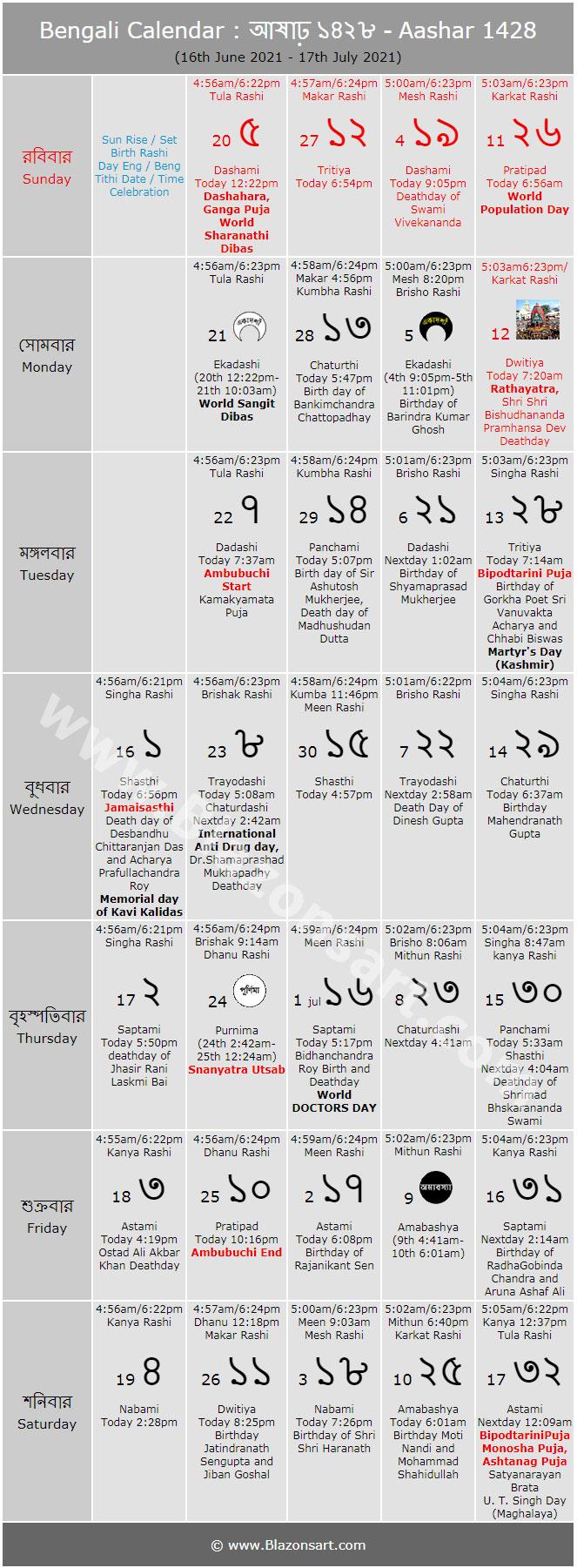 Bengali Calendar - Aashar 1426 : বাংলা কালেন্ডার