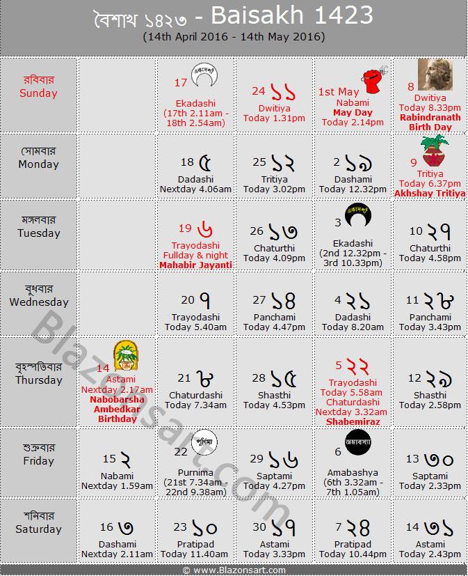 Calendar Bangla : বাংলা কালেন্ডার ১৪২৩ bengali calendar eng