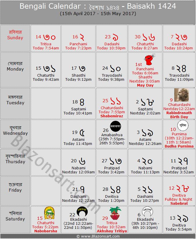 Bengali New Year Calendar : Bengali calendar baisakh বাংলা কালেন্ডার বৈশাখ