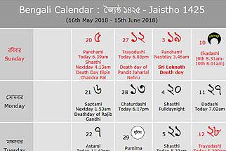 Bengali Calendar - Baisakh 1425 : বাংলা