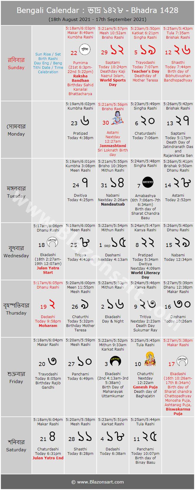 Bengali Calendar - Bhadra 1426 : বাংলা কালেন্ডার