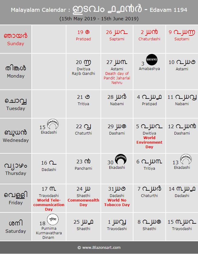 Malayalam Calendar - Chingam 1194 : മലയാളം കലണ്ടർ
