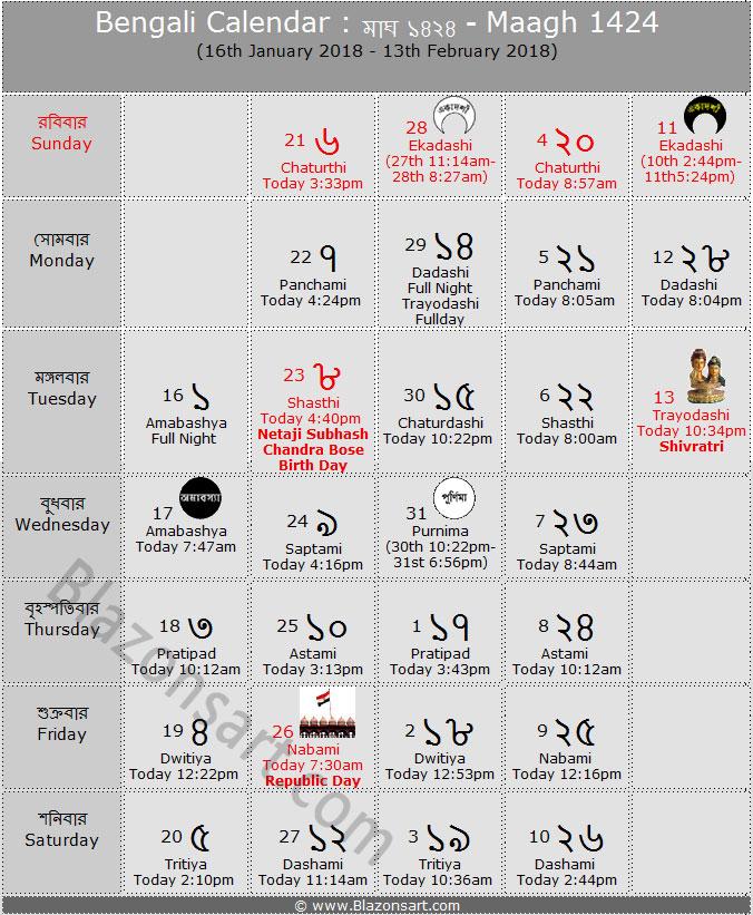 Bengali Calendar - Maagh 1424 : বাংলা কালেন্ডার ...