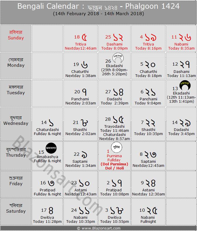 Bengali Calendar - Phalgoon 1424 : বাংলা কালেন্ডার ...
