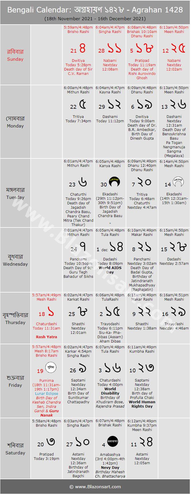 Bengali Calendar Agrahan 1426 বাংলা কালেন্ডার